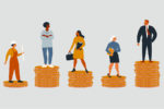 Clipart - Working People Standing on Stacks of Coins